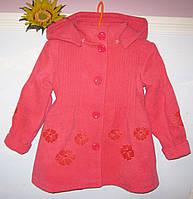 Пальто для девочки кашемировое с капюшоном