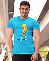 """Футболка мужская голубая с принтом """"Барт Симпсон"""""""
