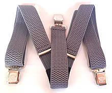 Підтяжки для штанів ширина 4 см в світло-сірі