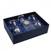 Набор для виски  Графин со Львом и 4 стакана с платиной  с овальными накладка