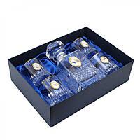 Набор Графин с овалом и 4 стакана с платиной для воды и виски с овальными накладками золото 5 предм