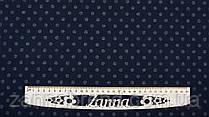 Ткань джерси с начесом цвет темно-синий принт мелкий серый горошек