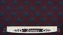 Тканина джерсі з начосом колір бордовий меланж принт великий сірий горошок