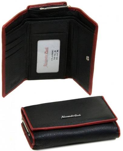 Стильный кожаный женский кошелек Alessandro Paoli WS-3 black черный