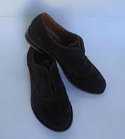 Женские туфли на шнурках, натуральный замш
