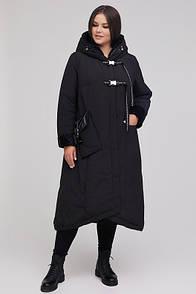 Оригінальне пальто жіноче зима плащівка микропух 46-72 розмір