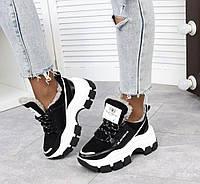 Зимние кроссовки женские кожаные замшевые на меху платформе молодежные стильные черные 36р Alex Benz 2053 2021