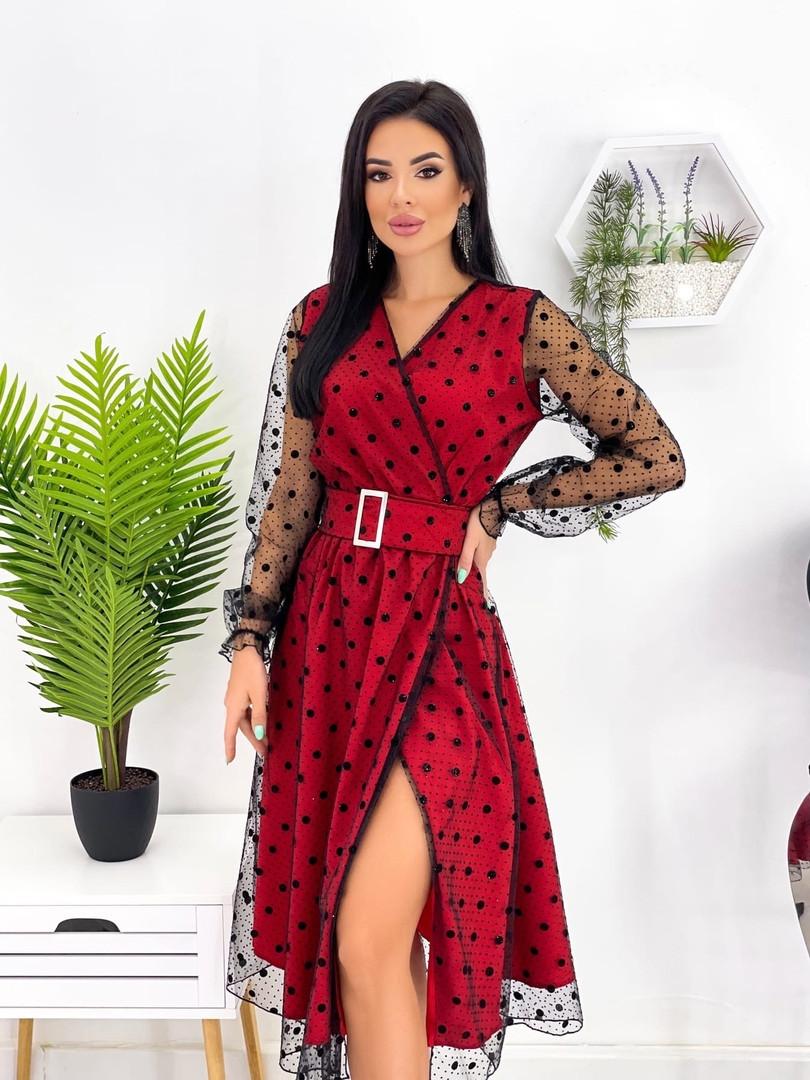 Сукня міді блискуча сітка з напиленням флок, 50-52, червоний, бежевий, зелений (Батал)