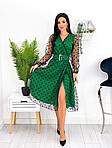 Сукня міді блискуча сітка з напиленням флок, 50-52, червоний, бежевий, зелений (Батал), фото 5