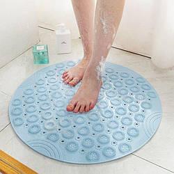 Силіконовий килимок для ванної кімнати, на присосках. Круглий силіконовий килимок.