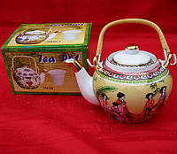 "Чайник фарфор с бамбуковой ручкой (TPR70) Yamasen ""Бежевый"" (750 мл)"