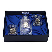 """Набор стаканов Сет для виски Boss Crystal """"ГОД БЫКА""""; графин; 2 стакана; серебро"""