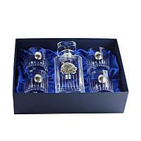 Набор стаканов Сет для виски Boss Crystal «ДИРЕКТОРСКИЙ КВИНТА», графин, 4 стакана, серебро