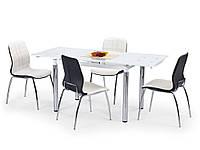Стол стеклянный раскладной L31 Белый 110-170х74