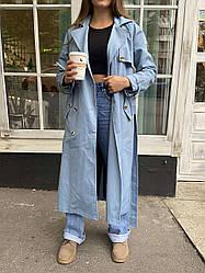 Довгий жіночий тренч Bilichka Тканина - 100% коттон (Блакитний)
