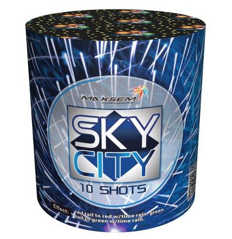 Новогодний салют SKY CITY BLUE Калибр 20 \ 10 выстрелов  GW218-95