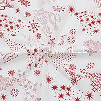 Ранфорс 240 см Елочки красные на белом