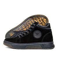 Мужские зимние кожаные ботинки Armani (реплика), фото 1