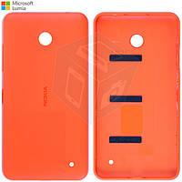 Задняя панель корпуса - крышка для Nokia Lumia 630, c боковыми кнопками, оранжевая, оригинал
