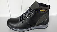 Зимние подростковые ботинки Timberlanb из натуральной кожи черно-серые.