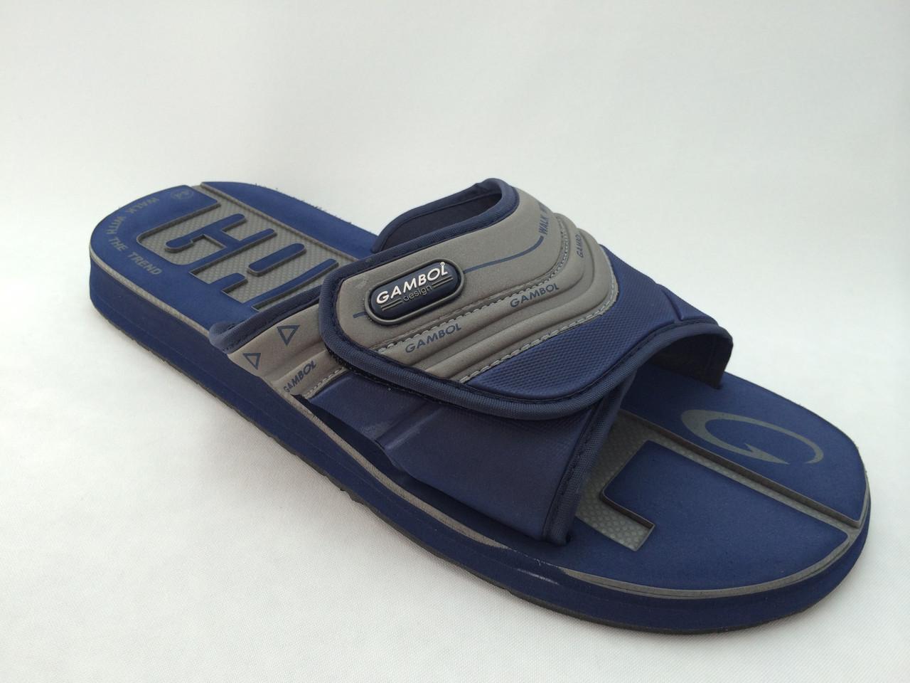 Тапки пляжные GAMBOL GM-13105 серо-голубые 42 размер.