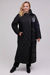 Довге стеганное пальто з плащової тканини 48-64 розмір