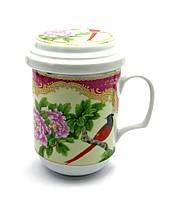 "Чашка заварочная с ситом (BFC1076) ""Птица и цветок"" (330 мл)"