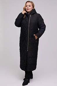 Красиве довге стеганное пальто з плащової тканини жаккард еврозима 48-64 розмір