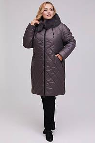Жіночий пуховик-пальто прямого силуету з мэхом кролика мокко 48-60 розмір