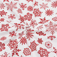 Ранфорс 240 см Снежинки красные на белом