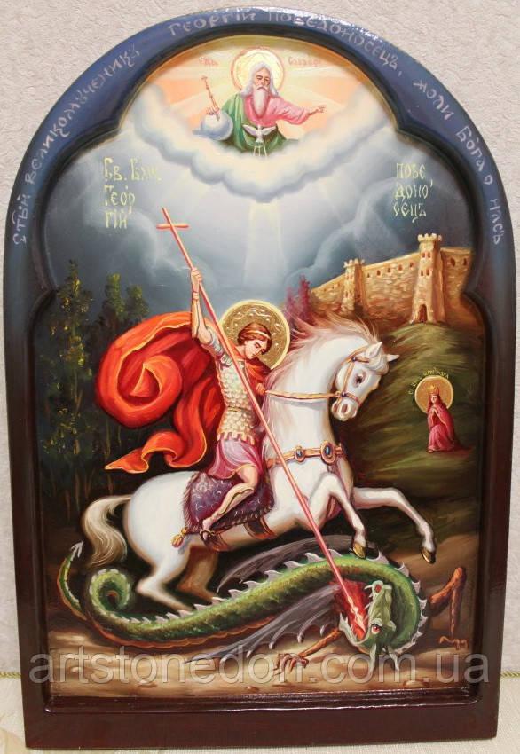 Икона нарисованная на дереве. Икона писаная Георгий Победоносец (2 вариант)