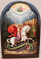 Икона нарисованная на дереве. Икона писаная Георгий Победоносец (2 вариант), фото 1