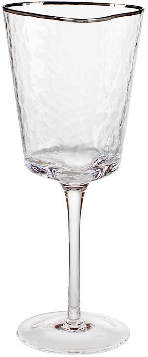Набір 4 фужера Monaco Ice келихи для вина 400мл, скло з срібним кантом BD-579-127