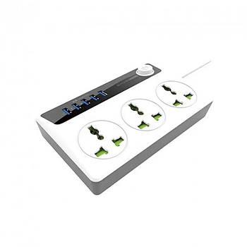 Сетевой фильтр + USB зарядка BAVIN PC512 на 3 розетки 5 USB