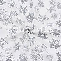 Ранфорс 240 см Снежинки серые на белом