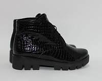 Женские ботинки на тракторной подошве, натуральная кожа крокодил лак, фото 1