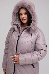 Жіночий пуховик-пальто прямого силуету з мэхом кролика пудра 48-60 розмір