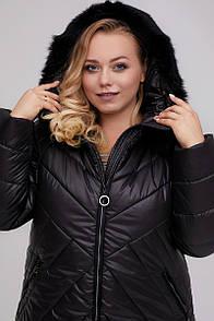 Жіночий пуховик-пальто прямого силуету з мэхом кролика чорний 48-60 розмір