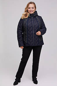 Жіноча демісезонна куртка з імітацією шарфа стильна т-синя з капюшоном микропух 54-68 розмір