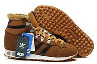 Мужские зимние кроссовки Adidas Chewbacca (Адидас) с мехом коричневые