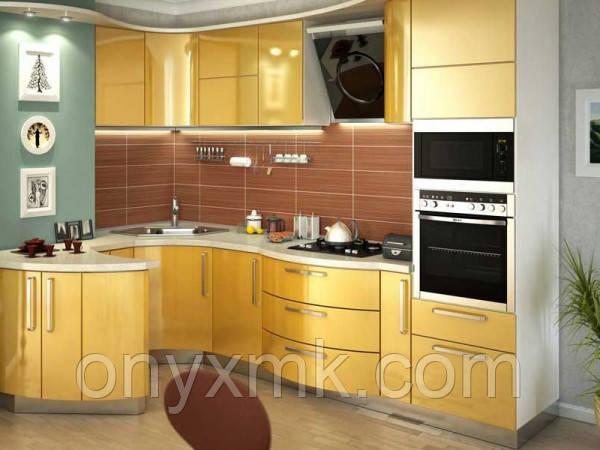 Радиусная Стильная кухня  с фасадами из МДФ крашенного