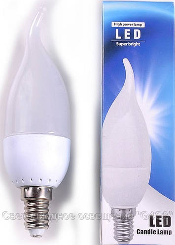 Светодиодная лампа Е14 3W форма свеча на ветру