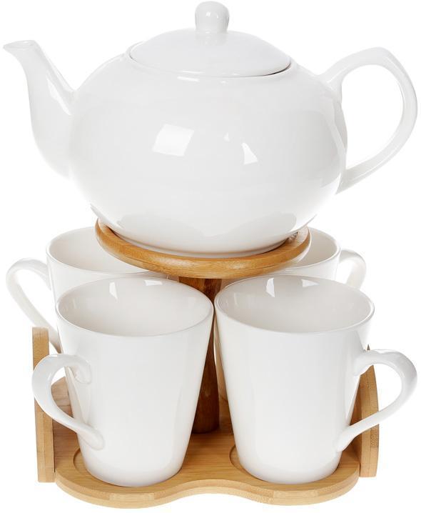 Чайный набор Nouvelle Home Глянец заварочный чайник и 4 кружки BD-375-385