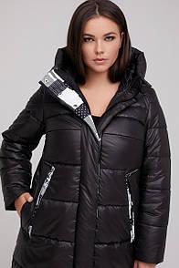 Стильна жіноча куртка зі вставкою абстракція і капюшоном 46-68 розмір