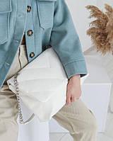 Сумка женская белая Молодежная женская сумка на плечо модная кросс боди