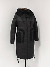 """Зимове жіноче пальто з хутряним коміром Арді """"Мішель"""", чорне"""