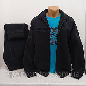 Тёплый черный спортивный костюм SOCCER Турция  тринитка брюки прямые кофта на молнии