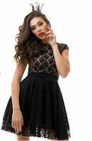 Кокетливое кружевное женское платье с пышной юбкой рукав короткий гипюр на подкладке из микромасла фатин