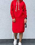 Тепле плаття в спортивному стилі з капюшоном і кишенею кенгуру, фото 6