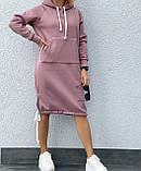 Тепле плаття в спортивному стилі з капюшоном і кишенею кенгуру, фото 5